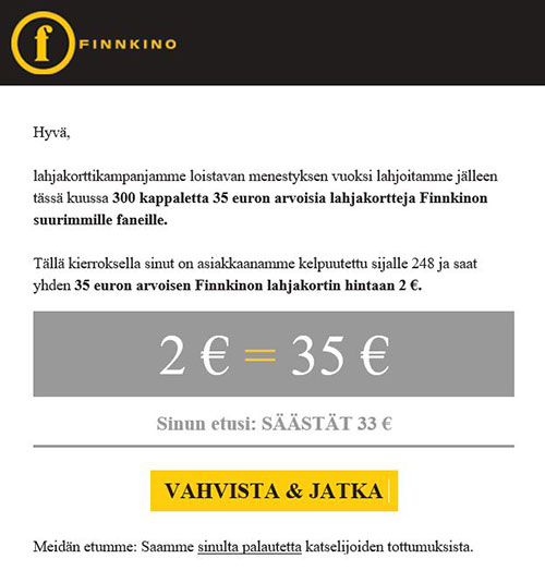 Finnkino kampanjakoodi